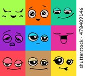 emotions. set of doodle faces.... | Shutterstock .eps vector #478409146