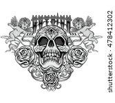 gothic coat of arms with skull. ...   Shutterstock .eps vector #478412302