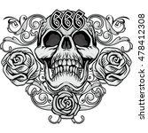 gothic coat of arms with skull... | Shutterstock .eps vector #478412308