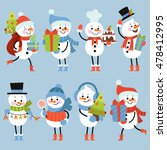 set of winter holidays snowman. ... | Shutterstock .eps vector #478412995