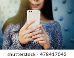 big silver smart phone with... | Shutterstock . vector #478417042
