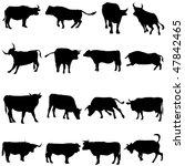 bovine animals from around the... | Shutterstock .eps vector #47842465