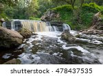 Small photo of Wide angle view on Viata river waterfall. Belarus, Miorskiy district.