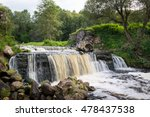 Small photo of Waterfall in Belarus, popular place for recreation and bathing in the stream. Miori, river Viata.