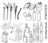 vector sketch set of smoking... | Shutterstock .eps vector #478437652