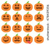 set icon emoji cartoon pumpkin... | Shutterstock .eps vector #478439356