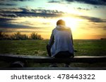 lonely man sit on the bench at... | Shutterstock . vector #478443322