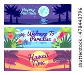 happy summer travel time hawaii ... | Shutterstock .eps vector #478443796
