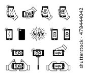 selfie graphic flat icon set.... | Shutterstock .eps vector #478444042
