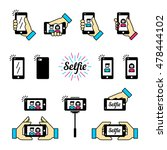 selfie graphic flat icon set.... | Shutterstock .eps vector #478444102