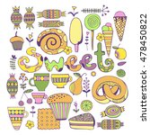hand drawn sweets and candies... | Shutterstock .eps vector #478450822