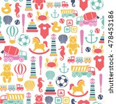 seamless pattern with toys... | Shutterstock .eps vector #478453186
