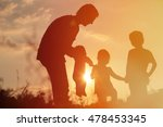 silhouette of happy father with ... | Shutterstock . vector #478453345