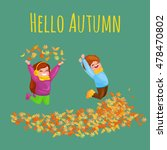 kids playing with autumn leaves.... | Shutterstock .eps vector #478470802