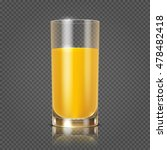 Orange Juice In Glass Vector...