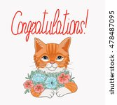 Stock vector vector of red cat with flowers and word congratulationsa 478487095