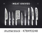 meat cutting knives set. poster ... | Shutterstock .eps vector #478493248