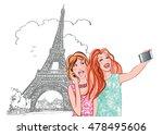 women tourists at eiffel tower... | Shutterstock .eps vector #478495606