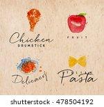 set of watercolor labels...   Shutterstock .eps vector #478504192