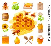 Bee Honey Icon Set With Cartoo...
