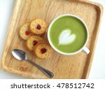 a cup of matcha latte art with... | Shutterstock . vector #478512742