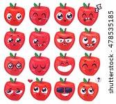 apple set of funny smiles.... | Shutterstock .eps vector #478535185