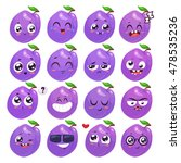 Plum Set Of Funny Smiles. Frui...