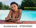 intense tattooed woman close up ... | Shutterstock . vector #478545082