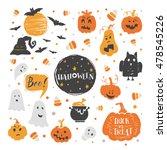 vector set of halloween design... | Shutterstock .eps vector #478545226