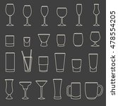 set of linear drinkware on grey ... | Shutterstock .eps vector #478554205