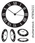 perspective roman numeral clock | Shutterstock .eps vector #47856211