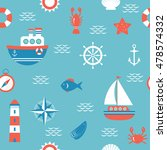 seamless pattern with nautical... | Shutterstock .eps vector #478574332