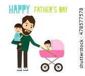 dad with kids | Shutterstock .eps vector #478577578