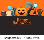 poster halloween with pumpkin.... | Shutterstock .eps vector #478584946