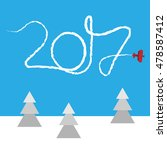 new year concept   plane left a ... | Shutterstock .eps vector #478587412