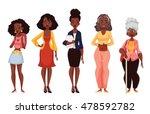 set of black women of different ... | Shutterstock . vector #478592782
