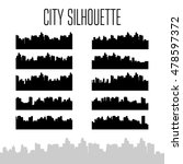 city skylines silhouette set