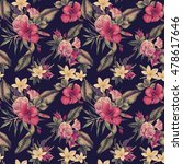 seamless floral pattern with... | Shutterstock . vector #478617646