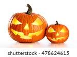 Halloween Pumpkins Isolated On...