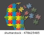Stock photo puzzle head with brain parts in disunity 478625485