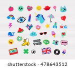 pop art fashion chic patches ... | Shutterstock .eps vector #478643512