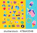 pop art fashion chic patches ... | Shutterstock .eps vector #478643548