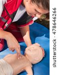 Small photo of Paramedic performing infant CPR. Model is team member of actual European first aid champions 2011/2012.