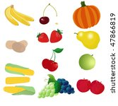 vector  vegetables and fruits | Shutterstock .eps vector #47866819