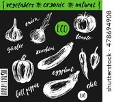 hand drawn sketch of vegetables ... | Shutterstock .eps vector #478694908