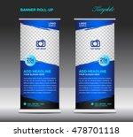 blue roll up banner template... | Shutterstock .eps vector #478701118