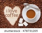 hot coffee in coffee cup with... | Shutterstock . vector #478731205