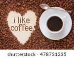 hot coffee in coffee cup with... | Shutterstock . vector #478731235