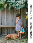 country girl  with her dog... | Shutterstock . vector #478740682