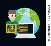 laptop planet man boy glasses... | Shutterstock .eps vector #478745005